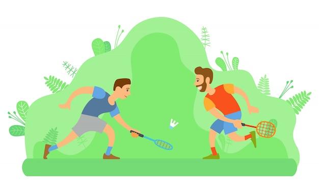 バドミントン、野外活動、スポーツをする男性