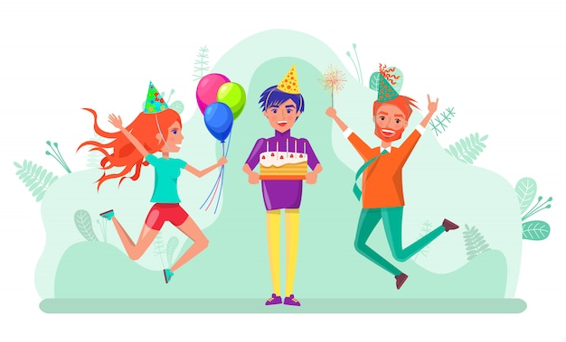 お誕生日おめでとうお祝いパーティー人々友達ベクトル