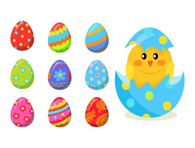 シェルと卵から生まれたばかりのひよこハッチベクトルを設定