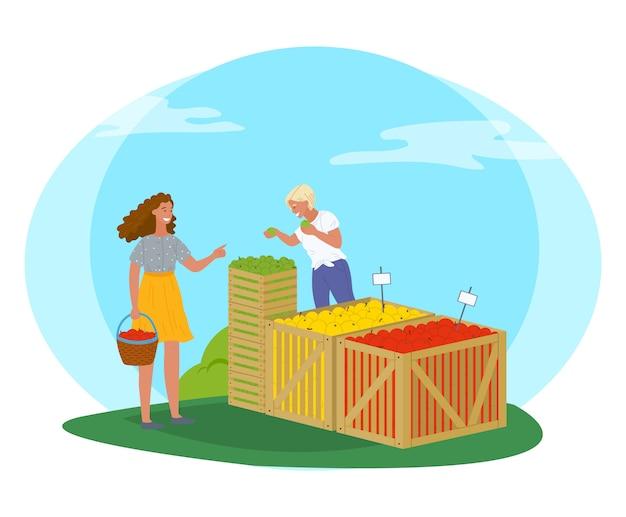 りんごのベクトルを持つ公園の販売員の公正な市場