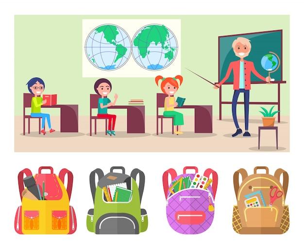 世界地図とグローブを使用した生徒の押し出し地理