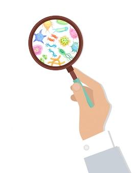 虫眼鏡イラストの細菌