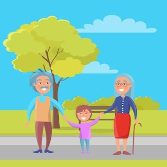 幸せな祖父母の日孫と年配のカップル