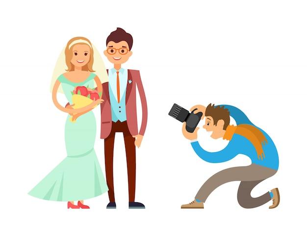 幸せなカップルの結婚式の花嫁新郎の写真