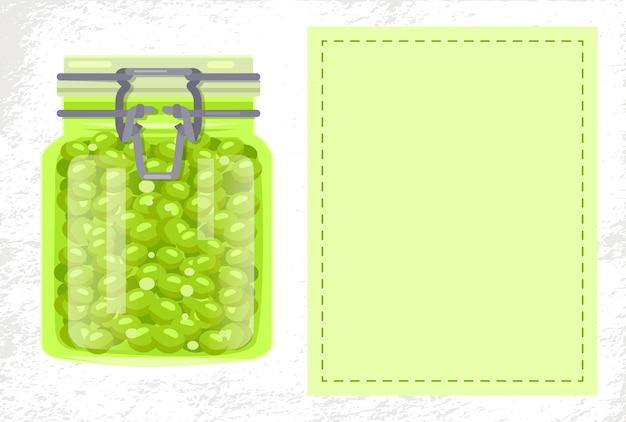 ラベルなしのガラス瓶にグリーンピースが保存された食品