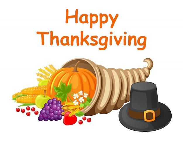 食品ベクトルと幸せな感謝祭のグリーティングカード