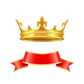 リボンと王冠のアイコンセットベクトル図