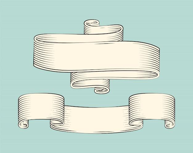 リボンベクトルアイコンの手描きスケッチセット