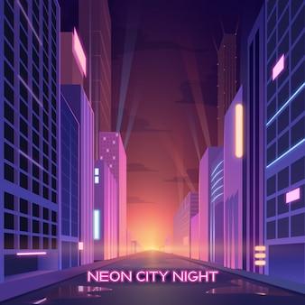 Неоновый город с сияющим светом и ночной жизнью