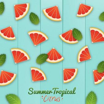 夏の熱帯の柑橘類