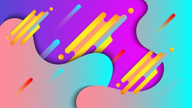 液体の形とカラフルな抽象的な背景
