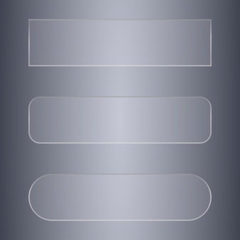 ガラスの透明なバナーまたはデザインのボタンのセット
