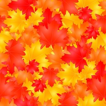 カラフルな秋のカエデの葉とのシームレスなパターン