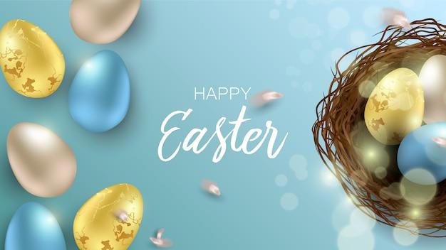Приветствие пасхи фон с реалистичные пасхальные яйца и куриные перья. вид сверху с копией пространства