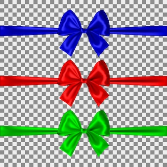 Набор синих, красных и зеленых бантов, изолированных
