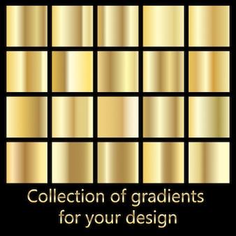 黄金のグラデーション背景のコレクション。メタリックテクスチャのセット。