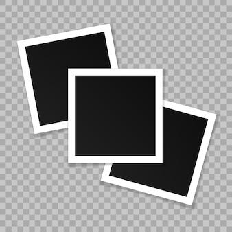 正方形のフォトフレームのセット。テンプレートデザイン。