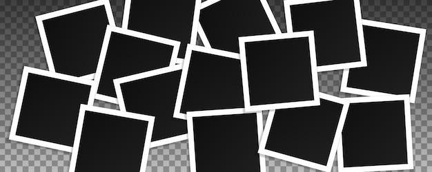 正方形のベクターフォトフレームのセットです。透明な背景に分離された現実的なフレームのコラージュ。テンプレートデザイン。