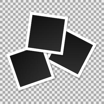 正方形ベクトルフォトフレームのセットです。分離されたリアルなフレームのコラージュ