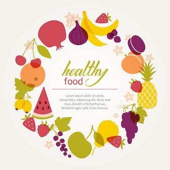 Круглая рамка свежих сочных фруктов. здоровая диета, вегетарианство и веганизм.