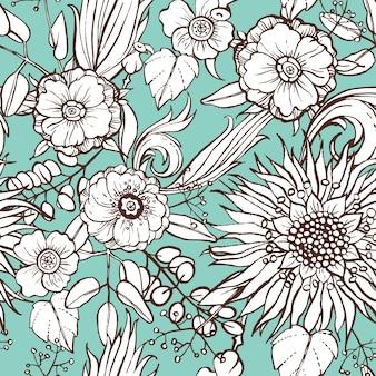青い背景に花のパターン