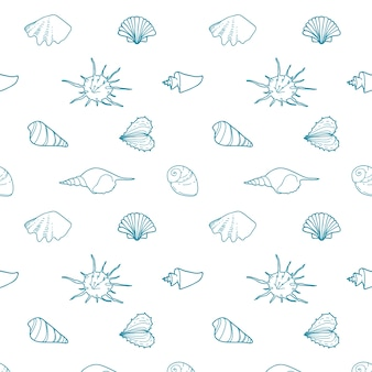 さまざまな形のシェルを持つシームレスなベクトルパターン。