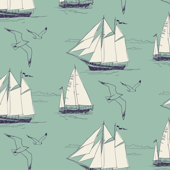 ヨットは海を帆走する。シームレスなパターン
