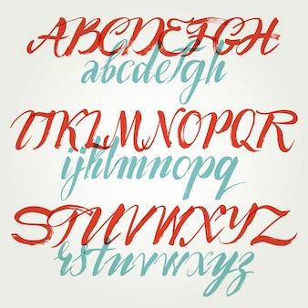 Рукописный шрифт сценария. шрифт кисти. верхний, цифры, знаки препинания