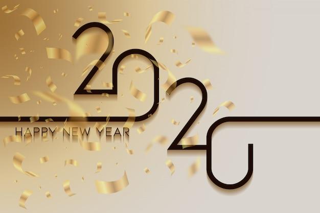 創造的な幸せな新年の金と白