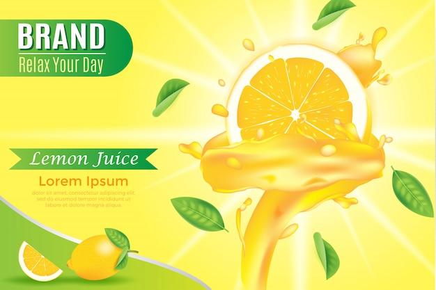 Желтый баннер шаблон жидкости сочные закрученные на дольке апельсина реалистичные иллюстрации