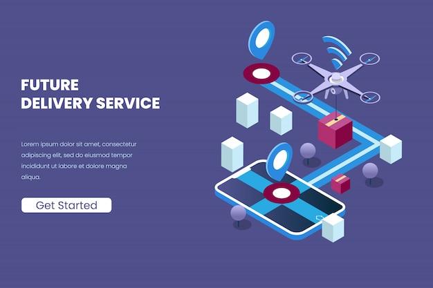 等角投影図スタイルで自動化された将来の技術のドローンと配信サービス