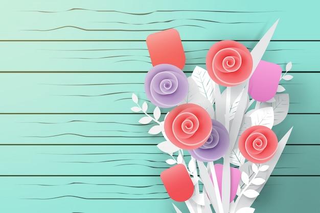 ペーパーアートスタイルのウッドの背景上の花の花束