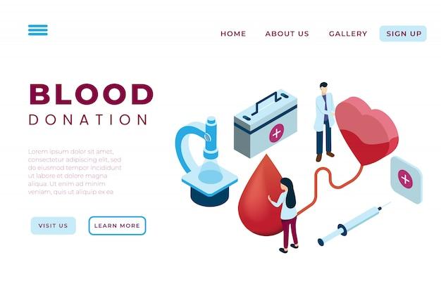 Иллюстрация переливания крови, иллюстрация донора крови для благотворительности с концепцией изометрических целевых страниц и веб-заголовков