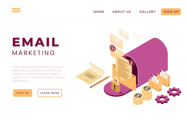 Иллюстрация интернет-маркетинга по электронной почте, службы онлайн-поддержки с концепцией изометрических целевых страниц и веб-заголовков