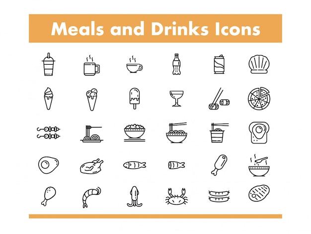ラインスタイルのベクトル図の食事と飲み物のアイコン