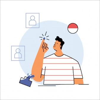 День выборов в индонезии векторная иллюстрация