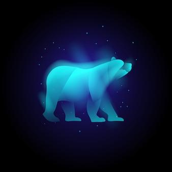動物のクマヘッドネオンの鮮やかな色、抽象的なモダンなロゴのベクトル。