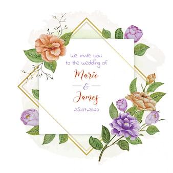 ビンテージ花のフレーム