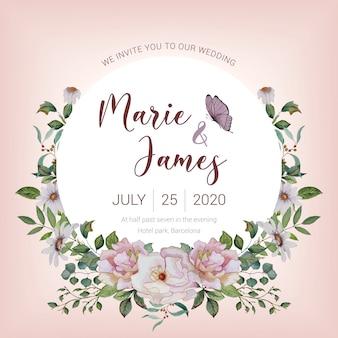 塗装の花と水彩の招待カード