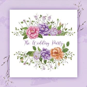 水彩花の結婚式のフレーム