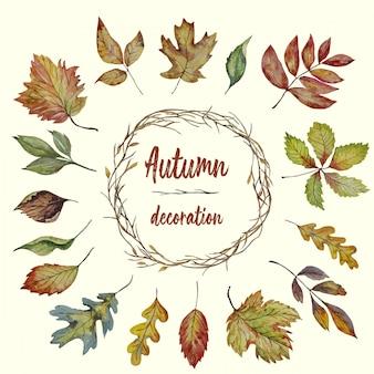 葉と秋の水彩ブランチリース
