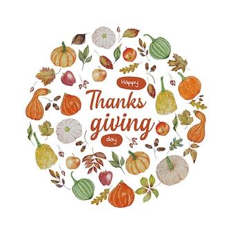 День благодарения фон с тыквами, яблоком и листьями