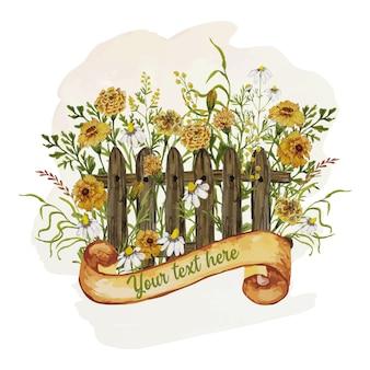 黄色の花とグリーティングカード