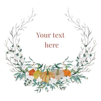 カボチャと白い花の感謝祭の花輪