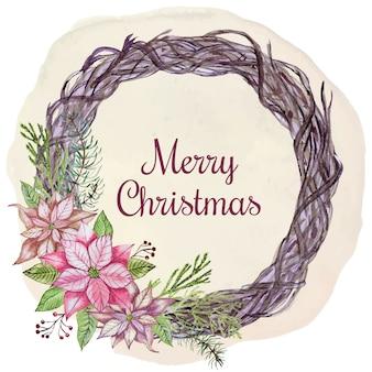 Рождественская открытка с цветами и листьями