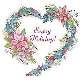ハートの形の花とクリスマスのグリーティングカード