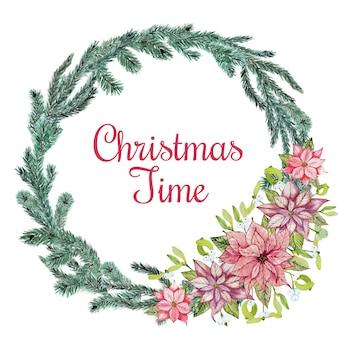 花とクリスマスの針葉樹の花輪