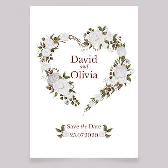 白牡丹と水彩の結婚式の招待カード