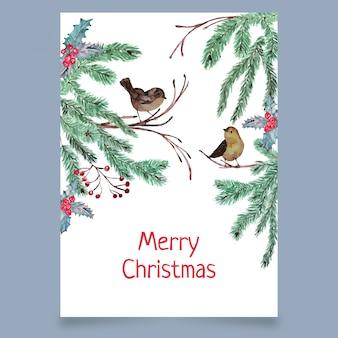 鳥とクリスマスのグリーティングカード
