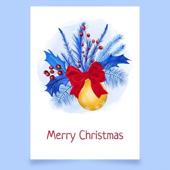 Рождественская открытка с калиной, листьями, луком и мячом